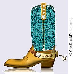 Bota de vaquero y espuela. Zapato de lujo con diamantes para diseño