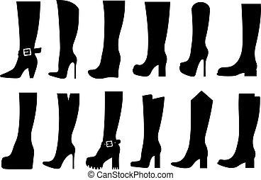 botas, conjunto, diferente