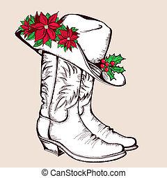 Botas de Navidad de vaqueros y sombrero. Ilustración gráfica del vector