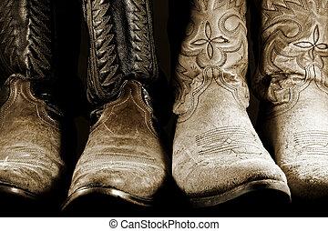 Botas de vaquero en alto contraste