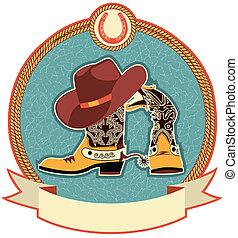 Botas de vaquero y etiqueta de sombrero