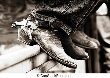 Botas vaqueros de rodeo y espuelas (BW)