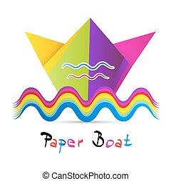 Bote de papel colorido aislado en fondo blanco