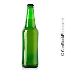botella, aislado, cerveza, blanco, verde