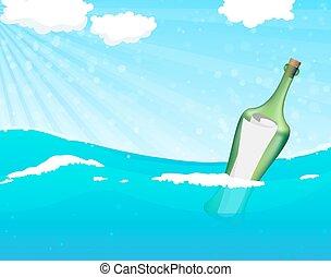 Botella con mensaje de ayuda