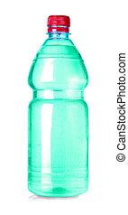 Botella de agua verde aislada en blanco