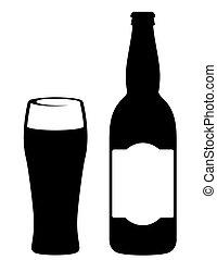 Botella de cerveza negra con vidrio