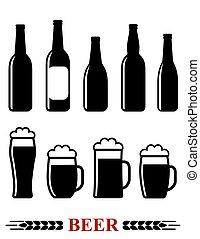 Botella de cerveza y taza con icono de espuma