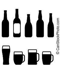 Botella de cerveza y tazas