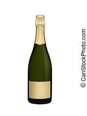 Botella de champán aislada en blanco