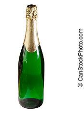 Botella de champán aislada en fondo blanco