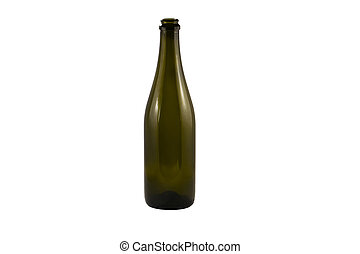 Botella de champán aislada en fondo blanco.