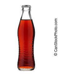 Botella de cristal cerrada con refresco de cola o soda aislada en fondo blanco