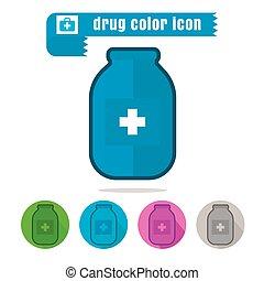 Botella de icono de medicina vector de diseño colorido en fondo blanco