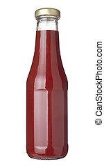 Botella de Ketchup condimentando comida de condimento