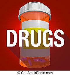 Botella de medicamentos palabra larga sombra de salud