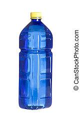Botella de plástico azul para agua aislada en blanco fondo azul