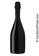 Botella de vino blanco brillante, botella de champaña aislada en un fondo blanco