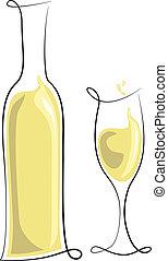 Botella de vino blanco y vaso