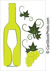 Botella de vino blanco y vidrio con elementos florales deco