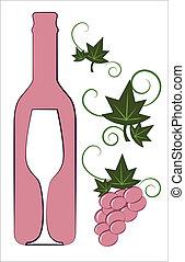 Botella de vino rosa y vasos con elementos florales deco