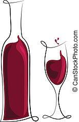 Botella de vino tinto y vaso