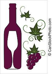 Botella de vino tinto y vidrio con elementos florales deco