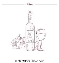 Botella de vino y mano de vidrio dibujado boceto realista