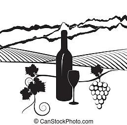 Botella de vino y viñedo