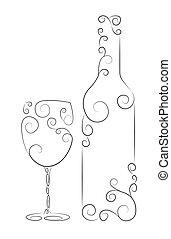 Botella de vino y vidrio