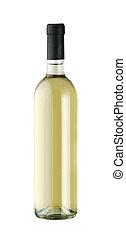 Botella de vinos aislada en un fondo blanco con una mano dibujada.