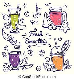 botella, dieta, zalamero, vector, fruta, bebidas, taza, smoothies., fresa, fresco, detox, bayas, cereza, conjunto, diferente, bosquejo, plátano