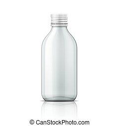 Botella médica de cristal con tapa de tornillo.