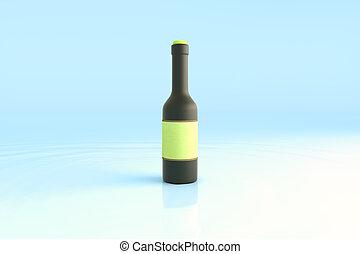 Botella negra con etiqueta verde