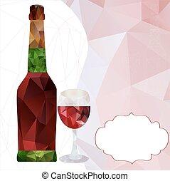 Botella poligonal y vaso de vino