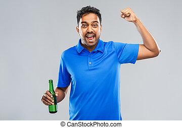 botella, ventilador, cerveza, victoria, macho, celebrar