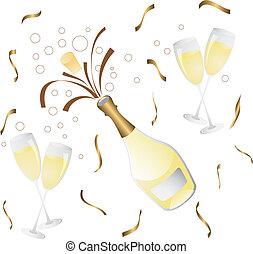 botella, vidrio, champaña