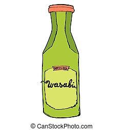 Botella Wasabi aislada en fondo blanco. Una mano colorida dibujando ilustraciones.