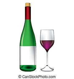 Botella y vector de vino