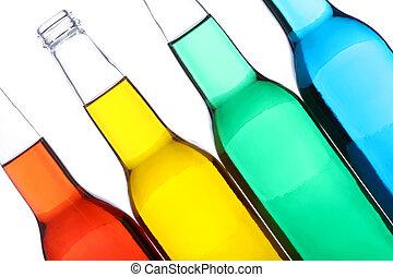 Botellas aisladas en blanco