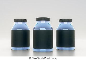 Botellas azules con etiquetas negras