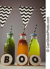 botellas, bebidas, abucheo, texto, galletas, colorido