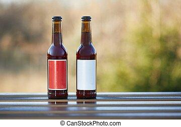 botellas, cerveza, tabla