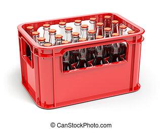 Botellas con soda o cola en la caja roja para botellas.