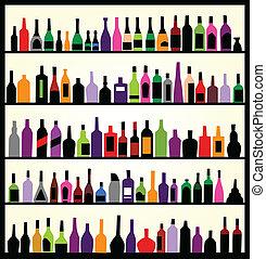 Botellas de alcohol en la pared