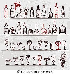 Botellas de alcohol y vasos de vino de fondo grunge