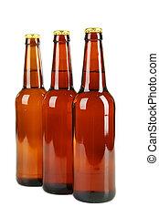 Botellas de cerveza aisladas en blanco