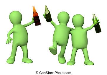 botellas de cerveza, alegre, amigos