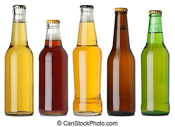 botellas de cerveza, blanco