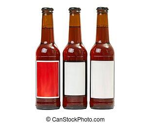 Botellas de cerveza en un blanco